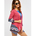 cheap Open Front Printed Draped Blouse