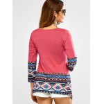 Open Front Printed Draped Blouse deal