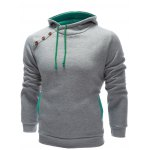 cheap Inclined Single Breasted Patchwork Hoodie