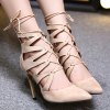 cheap Pointed Toe Lace Up Stiletto Heel Pumps