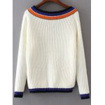 cheap V Neck Color Block Loose Sweater