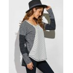 Striped Ribbed Knitted High Low Pullover deal