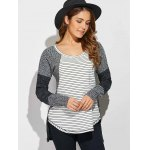 cheap Striped Ribbed Knitted High Low Pullover