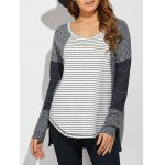 Striped Ribbed Knitted High Low Pullover 11027