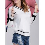 cheap Loose Fit  Trim Knitted Cricket Sweater