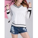 Loose Fit  Trim Knitted Cricket Sweater
