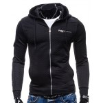 cheap Zip Pocket Drawstring Quilted Hoodie