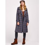 Lapel Double Breasted Plaid Coat deal