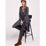 cheap Lapel Double Breasted Plaid Coat