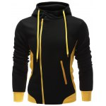 Hooded Button Design Drawstring Color Block Hoodie