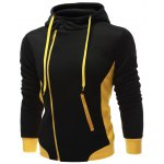 cheap Hooded Button Design Drawstring Color Block Hoodie