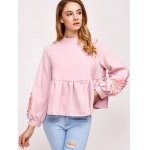 cheap Flower Embellished Puff Sleeve Blouse