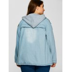 Plus Size Hooded Button Up Denim Coat for sale
