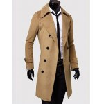 cheap Wide Lapel Double Breasted Wool Mix Overcoat