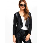 Faux Leather Spliced Knitted Jacket deal
