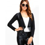 Faux Leather Spliced Knitted Jacket for sale