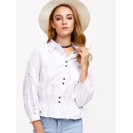cheap Hollow Out Flounced Blouse