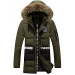 Buy Letter Badge Embellished Furry Hood Padded Coat XL ARMY GREEN