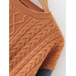 Denim Panel Sequins Cable Knit Sweater deal