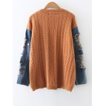 cheap Denim Panel Sequins Cable Knit Sweater