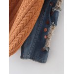 Denim Panel Sequins Cable Knit Sweater for sale