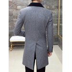 Single Breasted Knitted Collar Back Slit Coat deal
