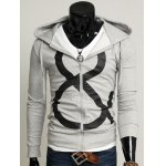 Drawstring Graphic Zip Up Hoodie