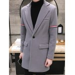 Single Buttton Lapel Striped Pattern Coat deal