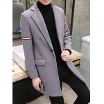 cheap Single Buttton Lapel Striped Pattern Coat