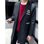 cheap Single Breasted Lapel Letter Patch Coat