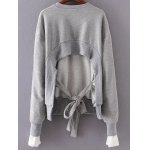 cheap Back Tied Asymmetric Paneled Sweatshirt