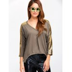 cheap Sequined V Neck Asymmetric Blouse