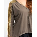 Sequined V Neck Asymmetric Blouse photo