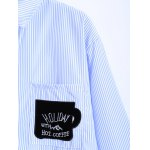Striped Letter Patched Number Embroidered Shirt deal