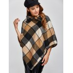 Plaid Asymmetric Pullover Cape Sweater for sale