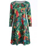 best Plus Size Christmas Tree Print Dress