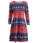 best Christmas Snowman Print Swing Dress