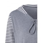 Plus Size Asymmetrical Striped Hooded T-Shirt deal