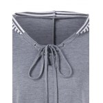 Plus Size Asymmetrical Striped Hooded T-Shirt for sale