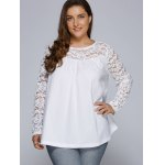 cheap Plus Size Lace Splicing Long Sleeve Blouse