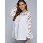 Plus Size Lace Splicing Long Sleeve Blouse deal