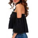 cheap Off The Shoulder Cropped Choker Blouse