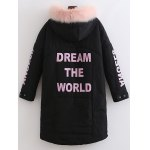 cheap Fuzzy Letter Hooded Padded Coat