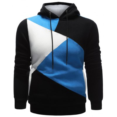Contrast Paneled Pullover Hoodie