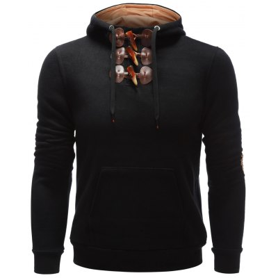 Elbow Patch Toggle Hoodie