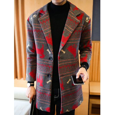 Zigzag Animal Pattern Woolen Coat