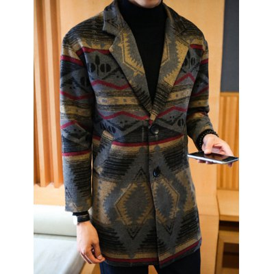 Side Pocket Geometric Pattern Woolen Coat