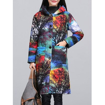 Ethnic Style Paint Quilted Coat