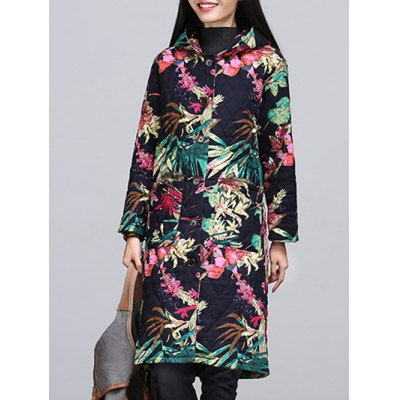 Ethnic Style Leaf Paint Quilted Jacket