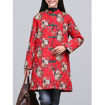 Chinese Style Floral Paint Quilted Jacket